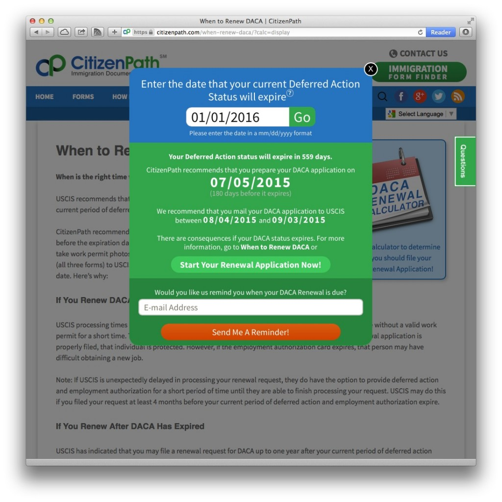 DACA Renewal Calculator